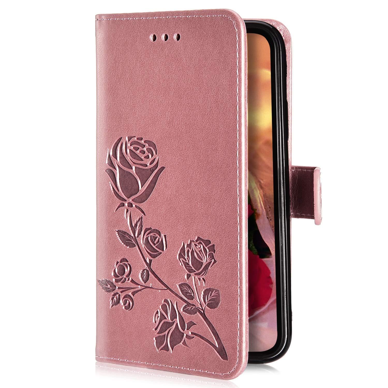 SainCat Kompatibel mit Galaxy J3 H/ülle Bookstyle Leder Rose Flip Handyh/ülle mit Standfunktion und Kartenfach Sto/ßfest Komplett Magnetverschluss Schutzh/ülle f/ür Samsung Galaxy J3//J3 2016-Rose Rot