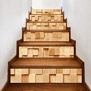 Pegatinas de escaleras innovadoras autoadhesivas sala de estar decoración de cubo de madera DIY pegatinas de pared impermeables para el hogar: Amazon.es: Bricolaje y herramientas
