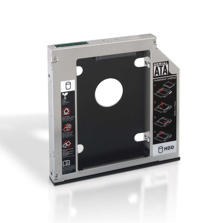 AISENS A129-0152 - Adaptador Disco Duro 9.5 mm de Unidad ó ptica portá til 12.7 mm (para Instalar un Segundo SSD 2.5') Color Plata