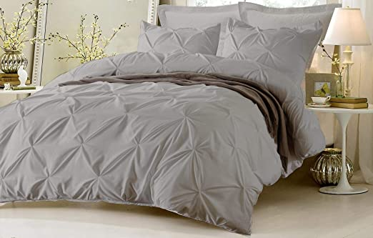 Kotton Culture Pinch Pleated 3 Piece Duvet Cover Set 100/% Egyptian Cotton 600 Thread Count with Zipper /& Corner Ties Tuffed Pattern Decorative Cal King//King, Grey