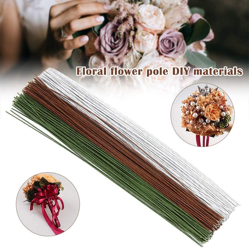 Benedict 20 Gauge Marr/ón//Blanco//Verde Floral Wire 14 Pulgadas 50pcs//Package DIY