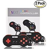 iNNEXT? 2X USB para Super SNES Mando de Juegos para PC Windows Mac Raspberry Pi NES/SNES Emulator (Red Button)