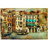 Pitaara Box Romantic Venice Canvas Painting 6mm Thick Mdf Frame 21.1 X 14Inch