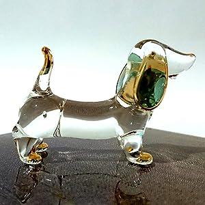 Sansukjai Dachshund Miniature Figurines Animals Hand Blown Glass Art Gold Trim Collectible Gift Decorate, Clear