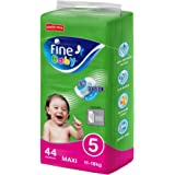 Fine Baby Diapers, Size 5, Maxi 11–18kg, Jumbo Pack of 44 diapers