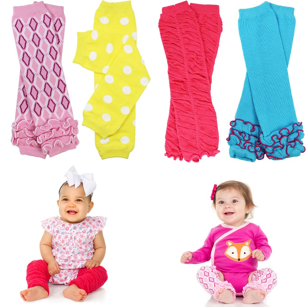 Bright 4 pack girls baby and toddler leg warmers by juDanzy