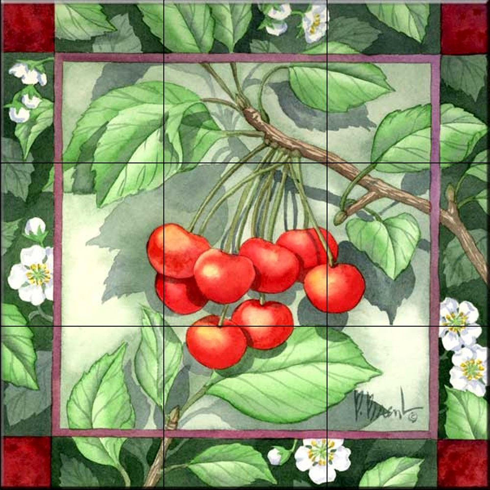 Ceramic Tile Mural - Cherries - Kitchen backsplash / Bathroom shower