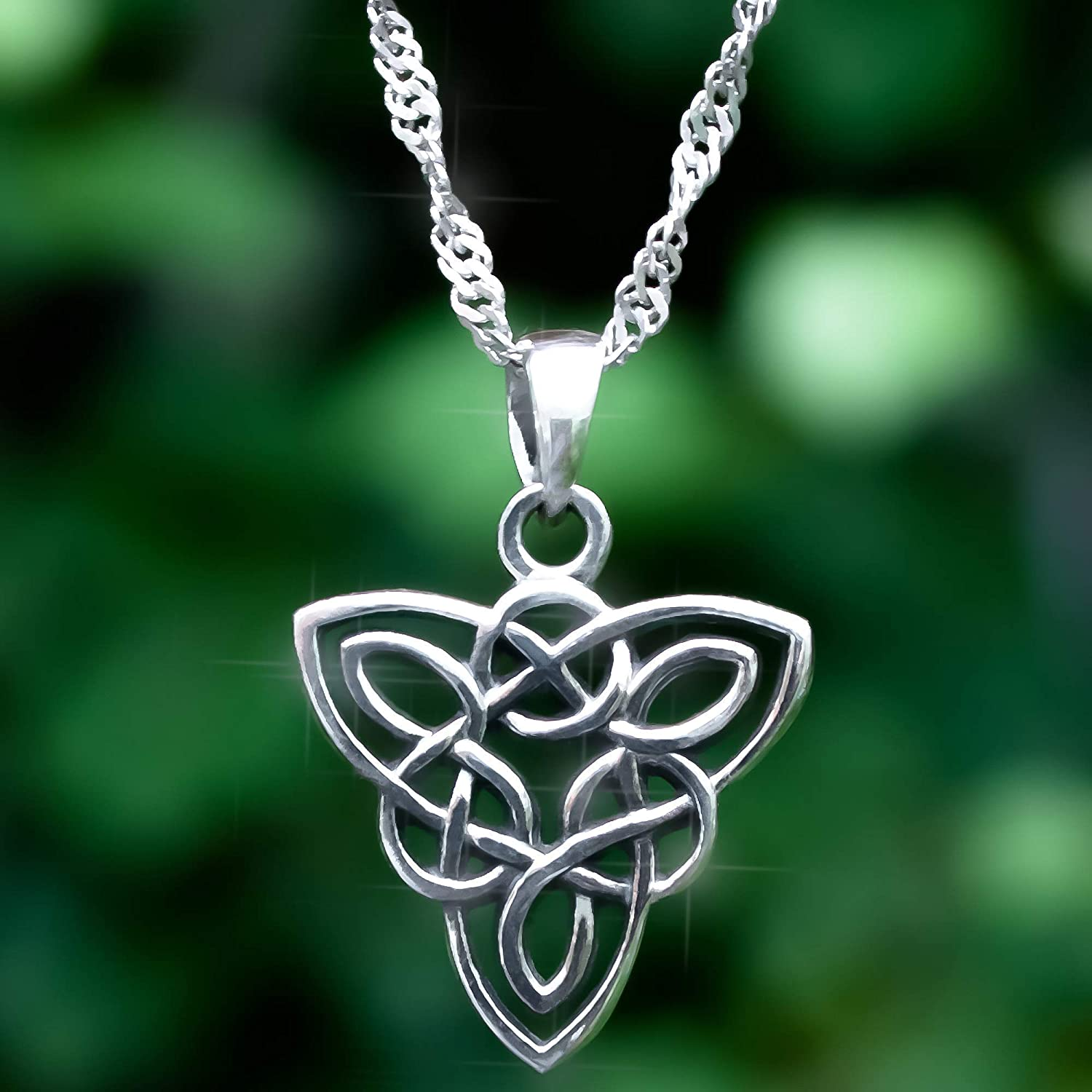 Celtic knot 925 Sterling Silver Triquetra Celtic Knot Pendant with 18 Inch Necklace moonstone black onyx