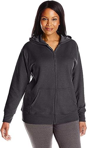 JUST MY SIZE Womens Plus-Size Full Zip Fleece Hoodie