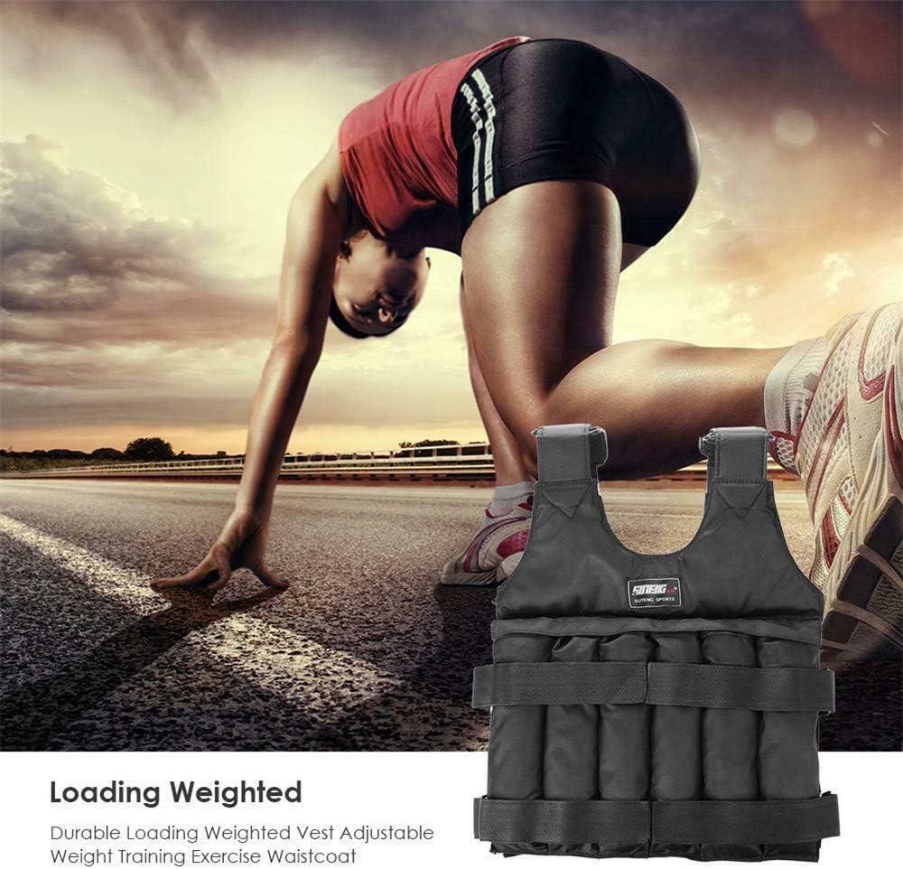 DIYARTS Chaleco Peso Chaqueta Entrenamiento con Ajustable para Bajar Peso Gimnasio Entrenamiento Fuerza Fitness Carga Máxima 20 Kg 50 Kg