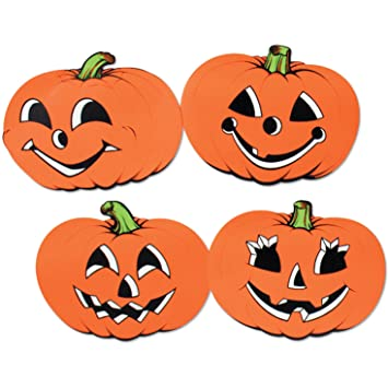 Amazon Com Halloween Pumpkin Cutouts 12in 4 Pkg Pkg 1