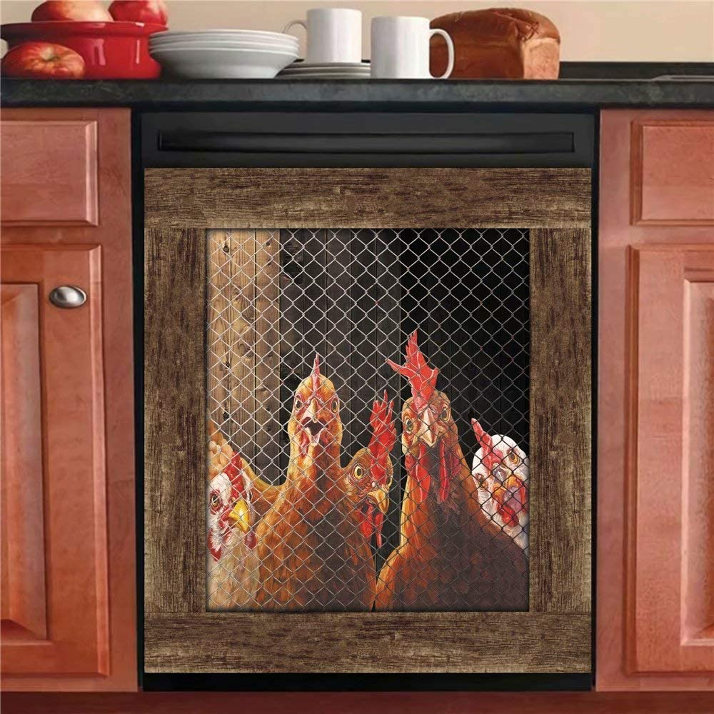 Kitchen Decor Rooster Hen Dishwasher Magnet Sticker,Country Chicken Refrigerator Magnetic Cover,Fridge Panels,Home Cabinet Decals Appliances Stickers 23