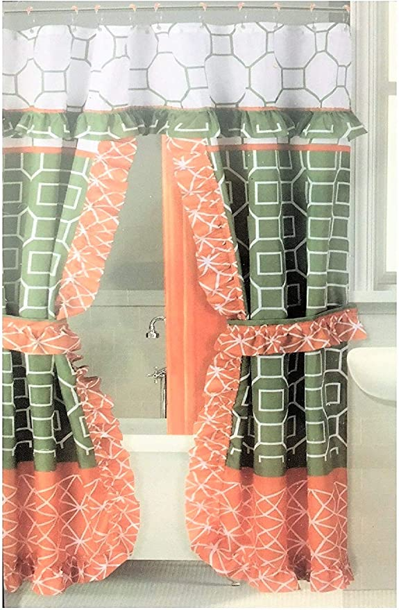 Round Design Double Swag Fabric Shower Curtain Set with 12 Metal Rolling Rings