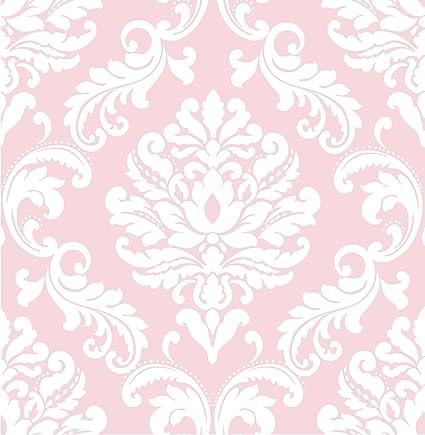 Wall Pops NU1397 Pink Ariel Peel And Stick Wallpaper
