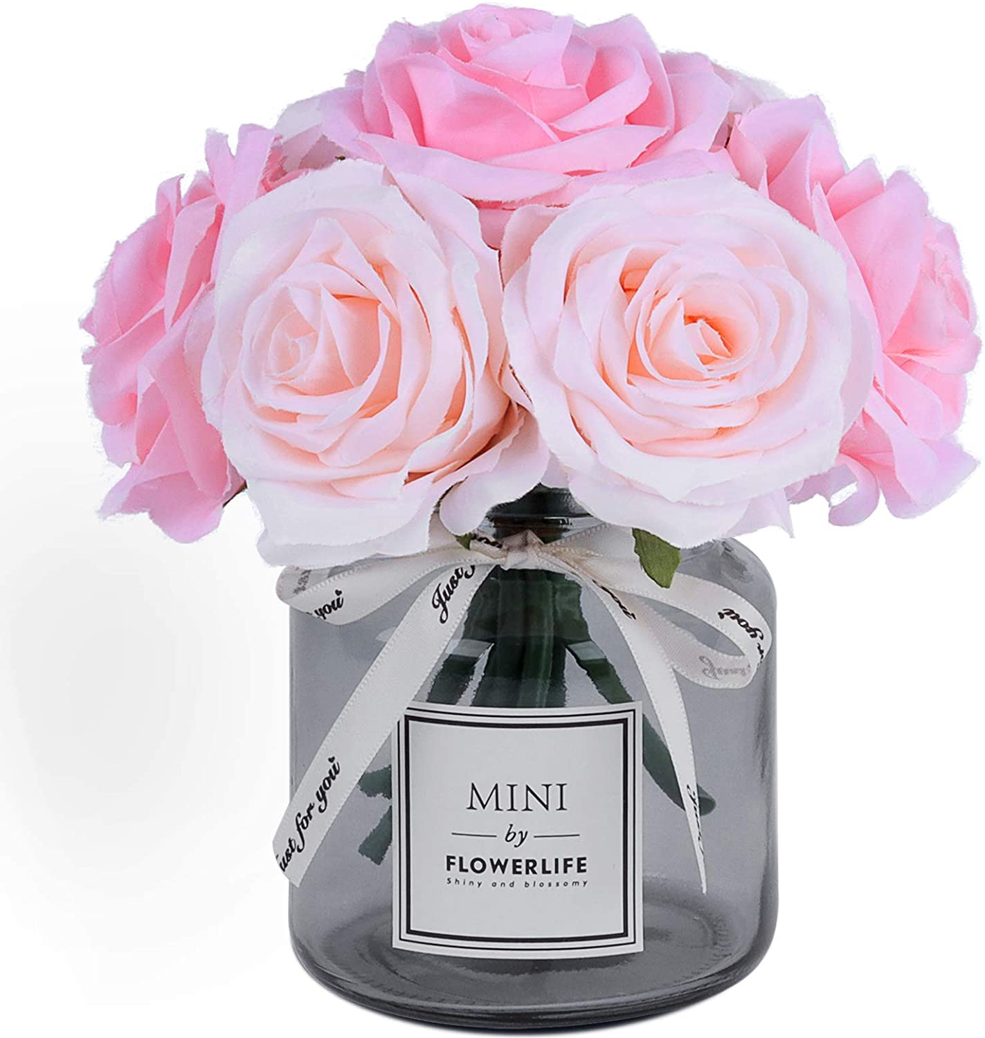 NA Artificial Flower and Glass vase, Silk Rose Flower Glass Bottle Set, Suitable for Living Room, Dining Table, Office, Wedding, Hotel Banquet and Other Home Decoration. (Pink)