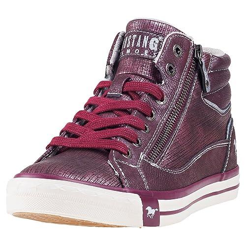 buy popular 38010 e2816 Mustang Zip Sneaker High Bordeaux Womens Chukka Boots ...
