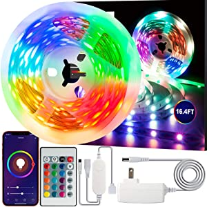 Swtroom LED Stripe Lights Works with Alexa Google Home WiFi RGB LED Light Strips 16 Million Colors Music Sync 5050 LED Light with Remote App Control for Bedroom/Bar/Party/Home Decoration (16.4ft)