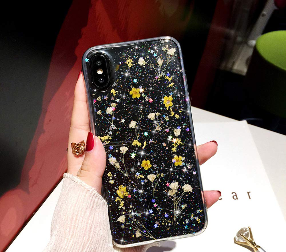 Bling Case for iPhone Xs/X Flower Case,Girls Women Sparkly Shiny Glitter Bling Crystal Clear Soft Flexible Rubber Gel TPU Pressed Dry Real Flowers Case Floral Cover for iPhone X Silicone Case,Yellow by ikasus