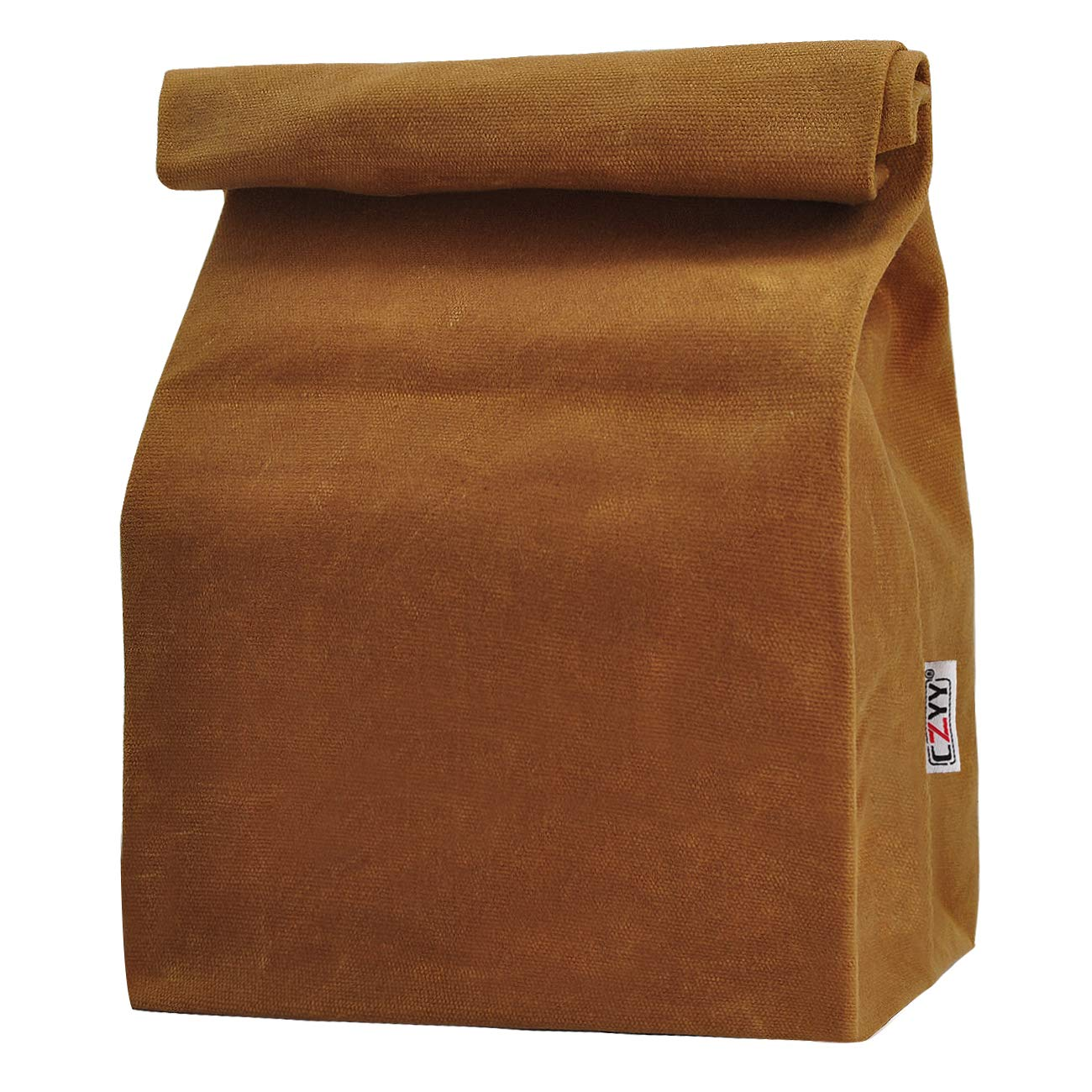 Waxed Canvas Lunch Bags Brown Paper Bag Styled - Classic Updated - Reusable and Washable, Worthbuy Lunch Box for Men & Women by CZYY