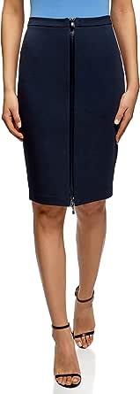 oodji Collection Mujer Falda de Punto con Cremallera por Delante ...