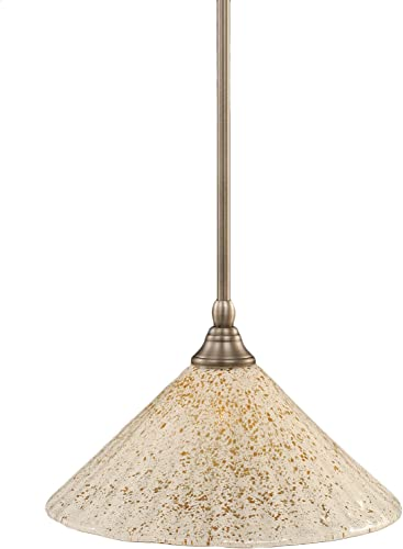 Toltec Lighting 23-BN-702 Stem Mini-Pendant Light Brushed Nickel Finish with Gold Ice Glass, 12-Inch