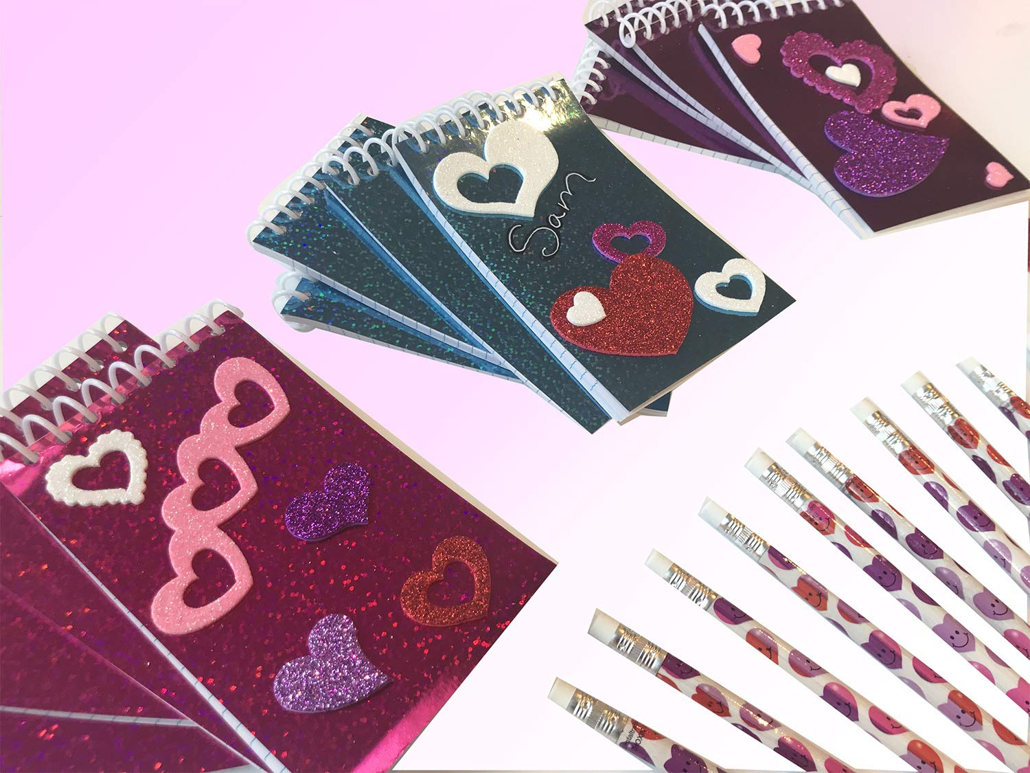 Sparkling Valentines Valentine Glittering Notepads 84 Pc Set Glitter Heart Stickers and Matching Heart Pencils Craft Set for 12