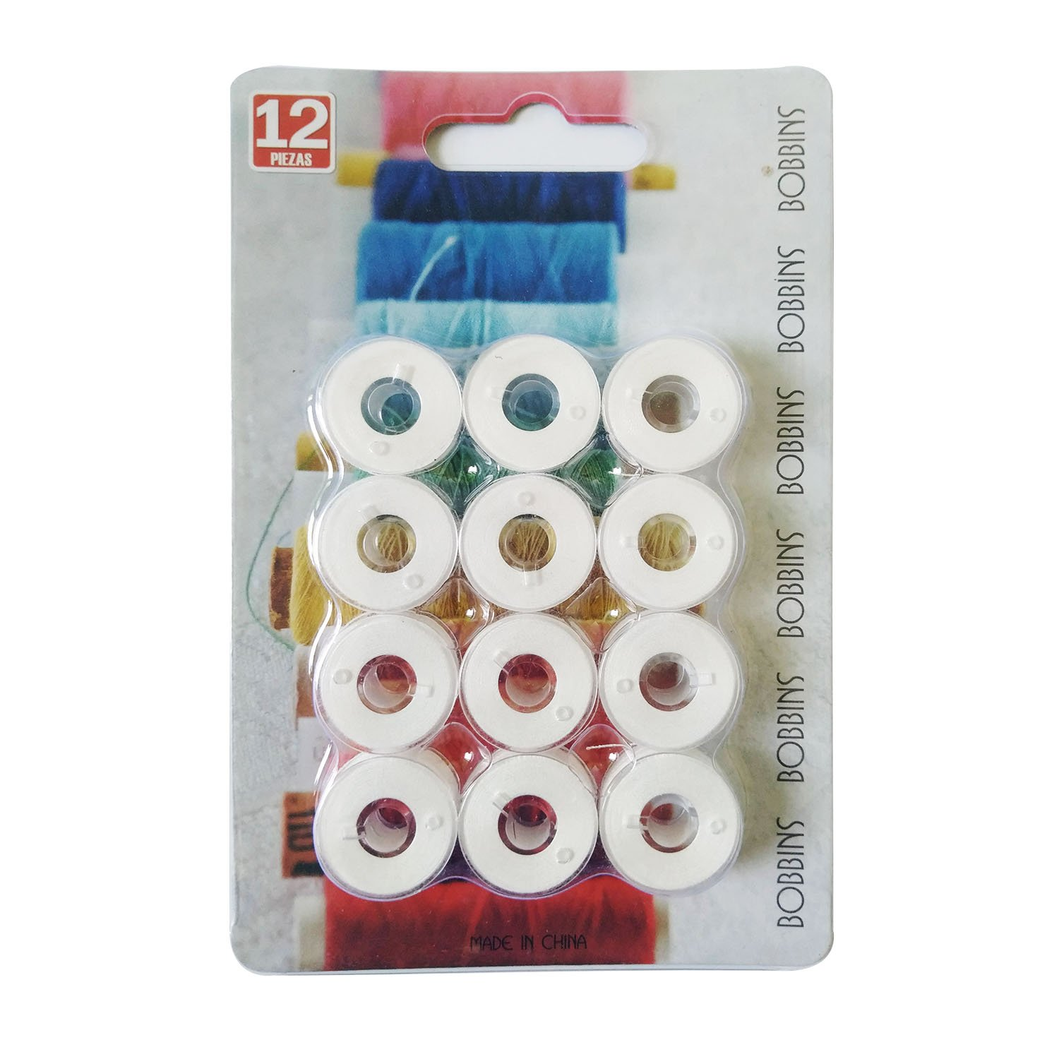 25 Pcs Bobbins and Sewing Thread with Case for Brother Singer Babylock Janome Kenmore (White) JZKJ
