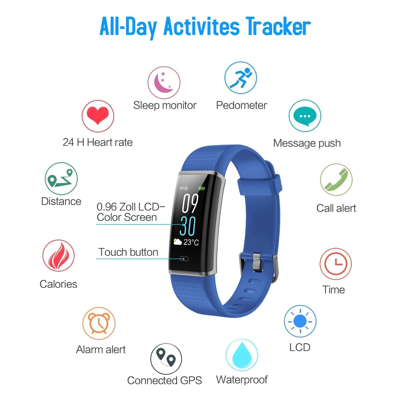 HETP Montre Connectée Étanche IP68, Bracelet Connectée Natation Écran Couleur Bluetooth Fitness Tracker dActivité Cardiofréquencemètre Smartwatch Cardio ...