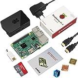 Globmall ABOX Raspberry Pi 3 Modello B Starter Kit e 32GB Micro SD Card con NOOBS, Black Case e Power Supply con Switch