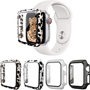 Hujabay 4 Pack Apple Watch Case 44mm Built-in Tempered Glass Screen Protector, Leopard Hard Full Protective Cover Bumper Compatible with iWatch Series 6/5/4 SE 44mm