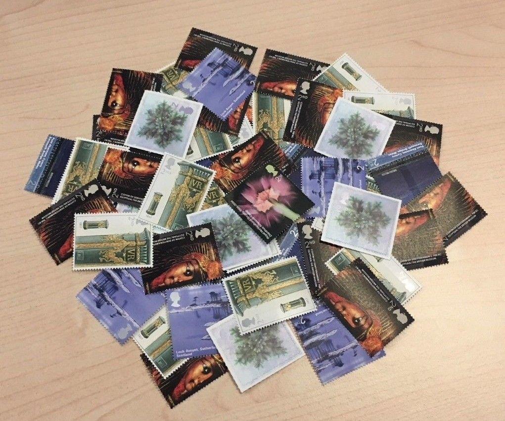 Classe 2 100 x tampon-Design timbre de la Royal Mail bande de timbres postaux