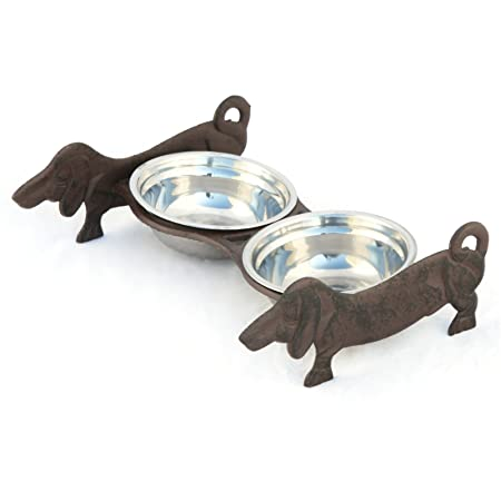 Double Cast Iron Dog Bowl Stainless Steel Dachshund Dog Bowl Holder