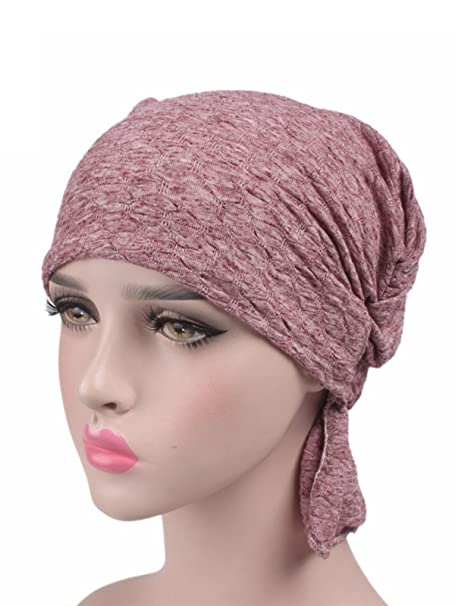 b63b79ae79a Century Star Women Chemo Hat Soft Turban Head Wrap Beanie for Cancer Hair  Loss Brick Red