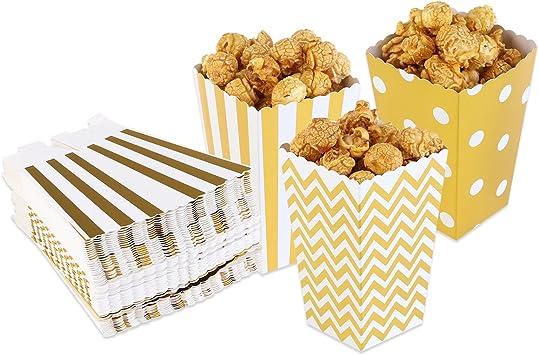 PIXNOR Cajas de palomitas de maíz palomitas bolsas cartones palomitas de maíz Pack de 50 (oro): Amazon.es: Bricolaje y herramientas