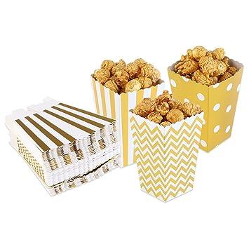 PIXNOR Cajas de palomitas de maíz palomitas bolsas cartones palomitas de maíz Pack de 50 (oro)