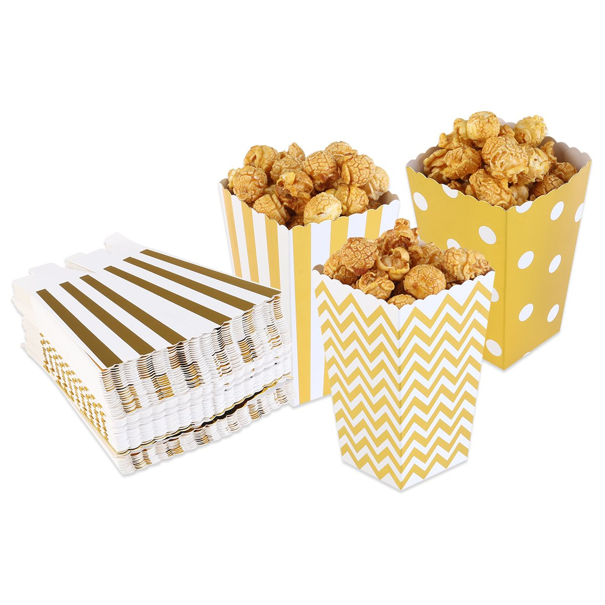 SALOCY Paper Popcorn Boxes,Party Candy Container, Movie Popcorn Favor Boxes,Gold,48 PCS