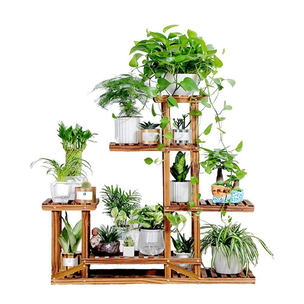 ddbfecca0450 Amazon.com : Six Tier Wood Plant Shelf Stand Succulents Flower Pots Rack  Holder with Multi Shelves Indoor Outdoor : Garden & Outdoor