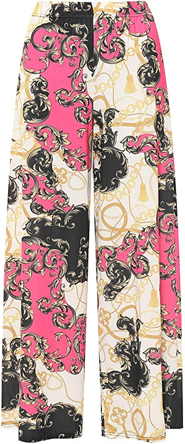 Ladies Plus Size Scarf Printed Baroque Pattern Wide Leg Palazzo Trousers Pants