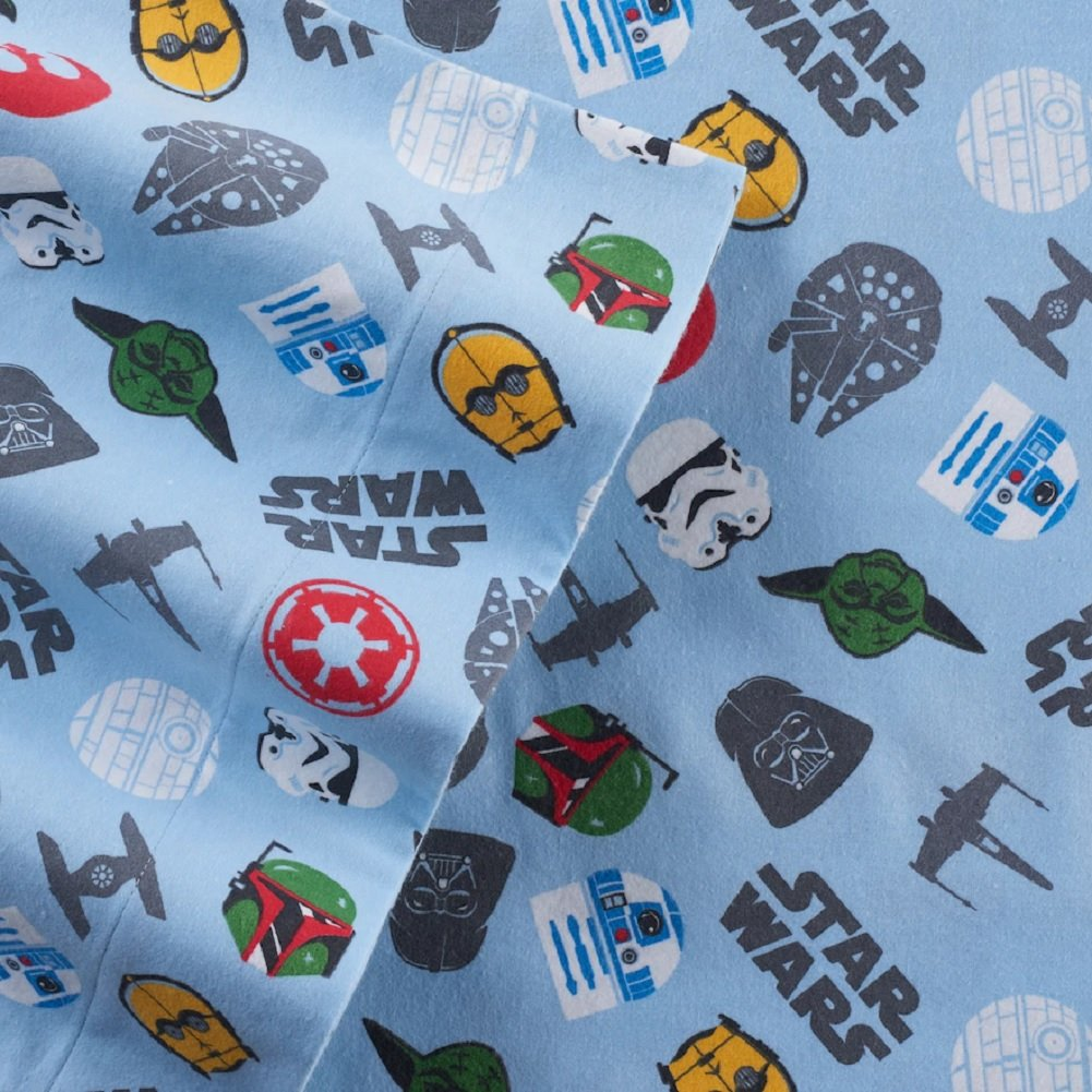 Star Wars Scatter Print Flannel Queen Sheet Set