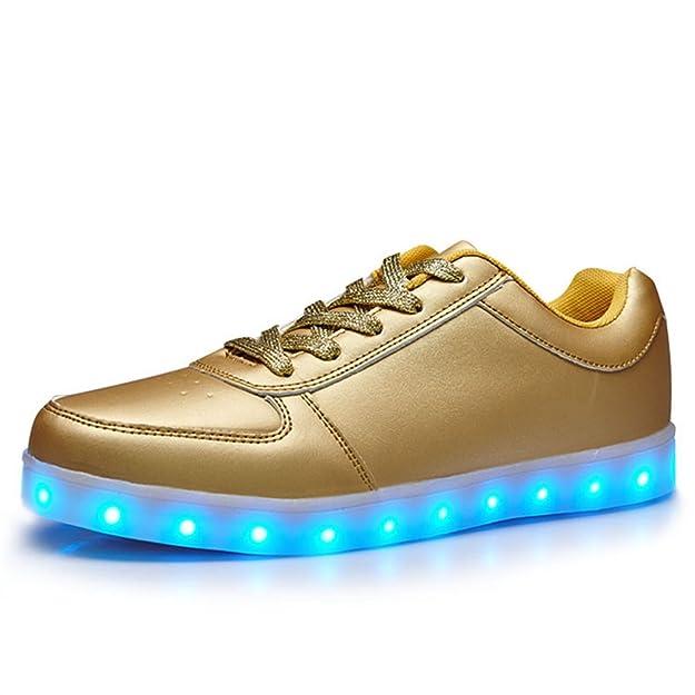 LJ Sport LED Schuhe Jungen Mädchen Herren Damen Sterne Leuchten Schuhe USB Lade Leucht Schuhe Schnürschuhe (EU 36, Weiß)
