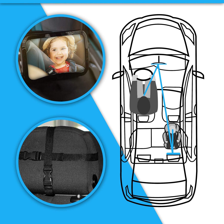 360/° Schwenkbar Spiegel Auto Baby Car R/ückspiegel Kompatibel mit Meisten Auto Drehbar LED Ruecksitzspiegel f/ür Babys