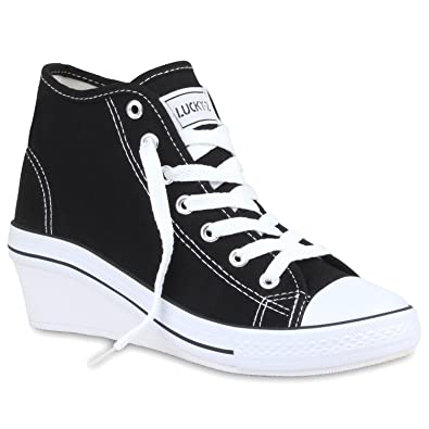 info for 13b9e 3f21c Stiefelparadies Damen Sneaker Wedges mit Keilabsatz Basic Flandell