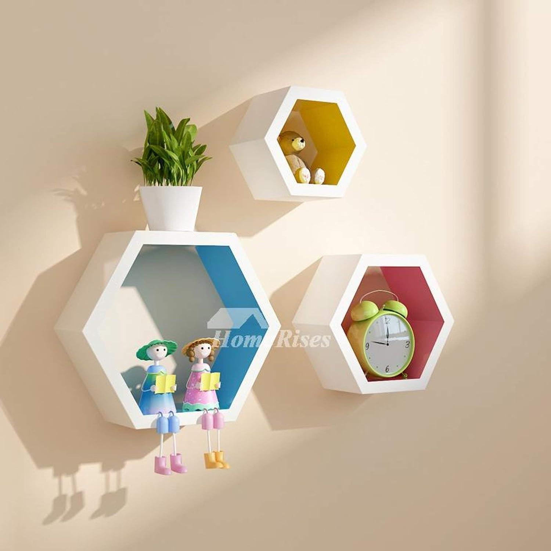 Amazon.com: My Aashis Decorative Wall Shelves Hexagon Wooden Modern ...