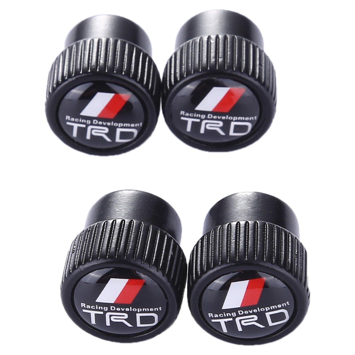 TK-KLZ 4Pcs Chrome TRD Logo Car Bike Scooter SUV Truck Tires Valve Stem Caps for Toyota Racing Development Modified Models Accessory