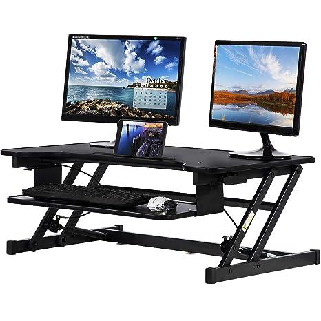 Fantastic Standing Desk Converter Computer Workstation Adjustable Height Desk Home Office Desk Sit Stand Desk Dual Laptop Monitor Riser 32 Inches Home Interior And Landscaping Ponolsignezvosmurscom