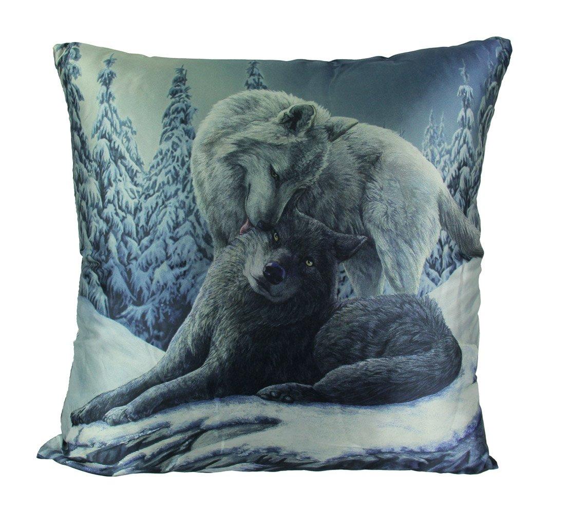 Zeckos Lisa Parker Snow Kisses 16 Inch Wolf Pair Throw Pillow