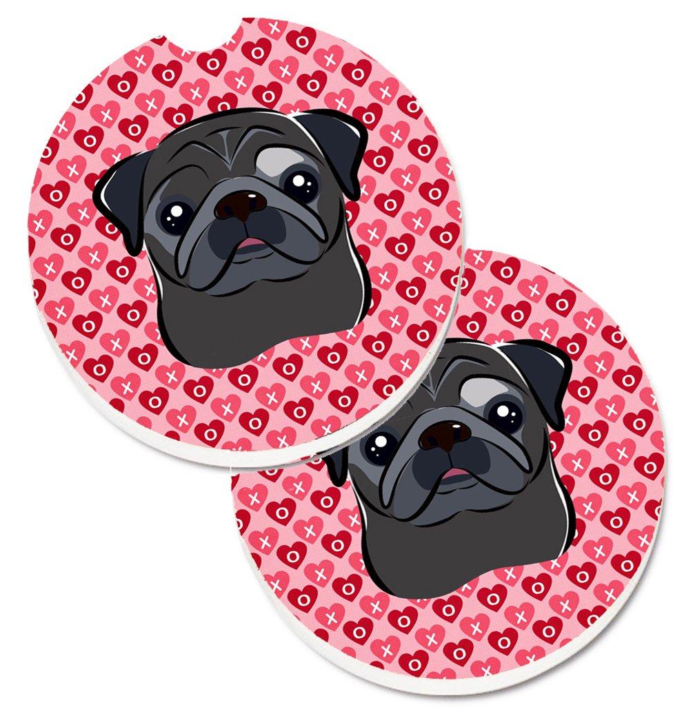 Multicolor 2.56 Carolines Treasures black Pug Hearts Set of 2 Cup Holder Car Coasters
