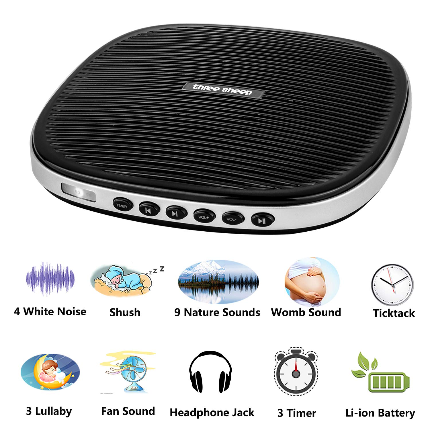 Three sheep White Noise Machine, Baby Sleep Sound Machine with 20 Soothing Sounds, Sleep Timer, Headphone Jack, Rechargeable and USB Socket for Adult and Children at Home, Office and Travel