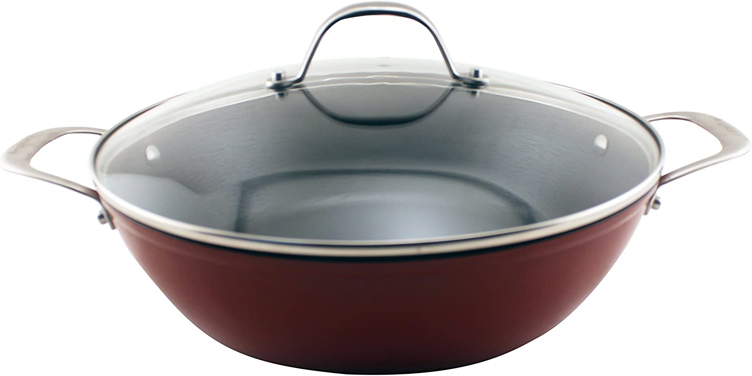 "BergHOFF Light Cast Iron 12"" Red Braiser"