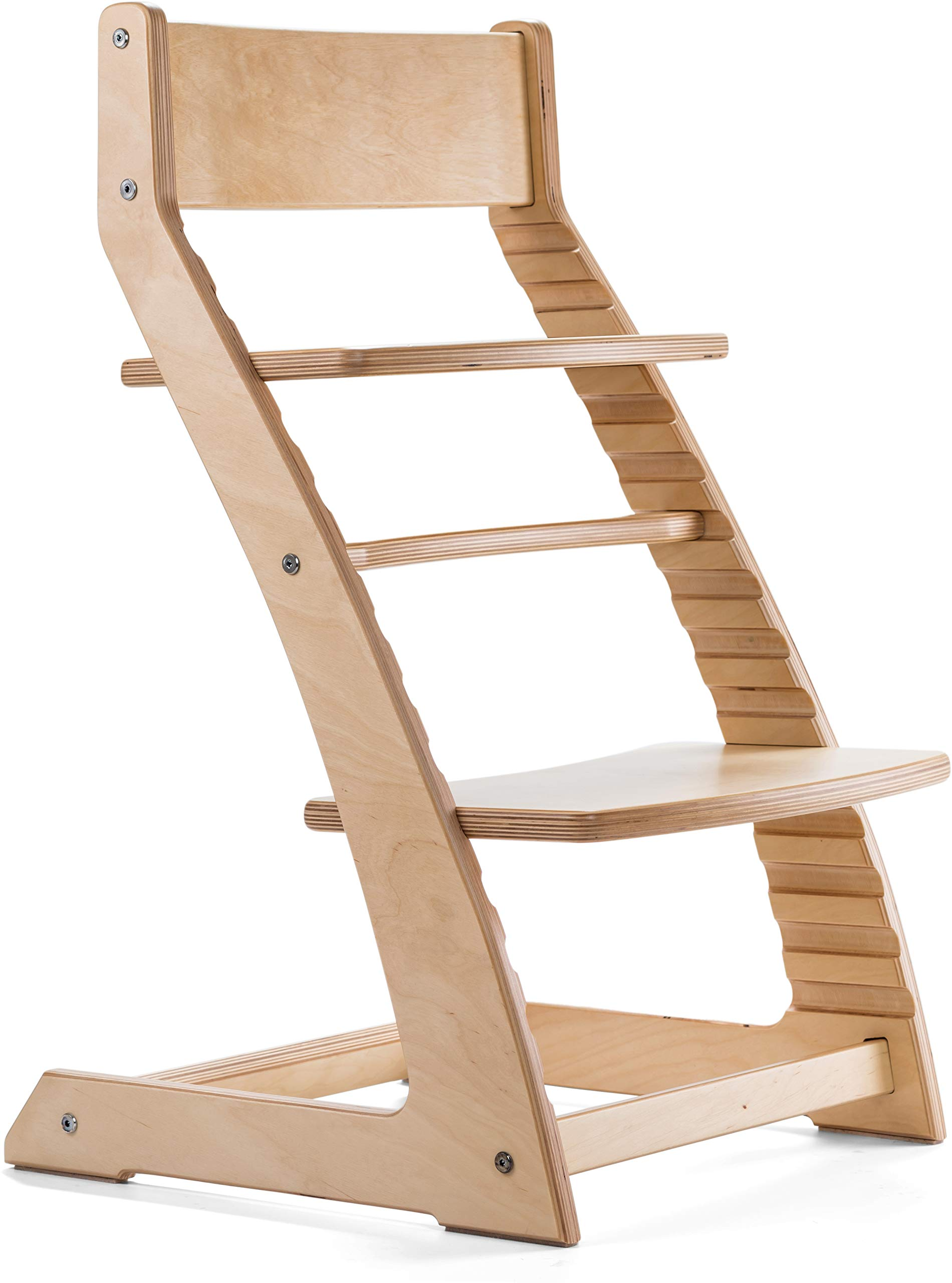 Natural Birch Heartwood Adjustable Wooden High Chair Baby Highchair Solution for Babies and Toddlers Dining Highchair from 24 Months